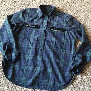 2/$14 J Crew Blue Green Plaid Beaded Shirt 6